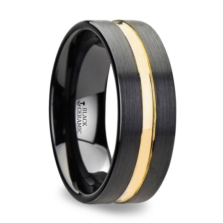 Black Ceramic Wedding Ring with Yellow Gold Groove (8mm) | 02