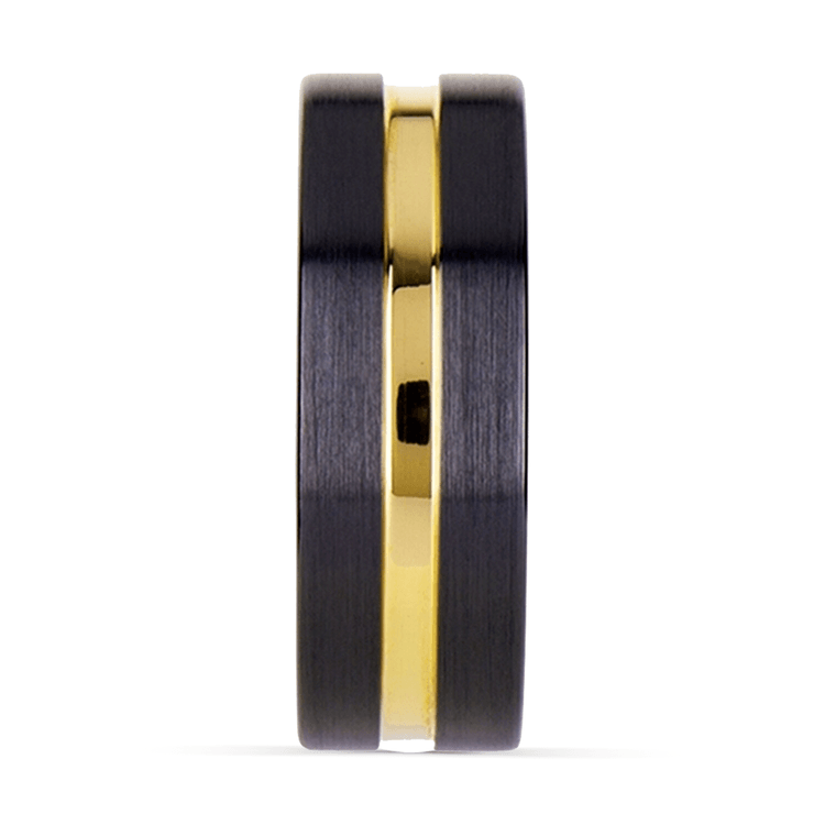 Black Ceramic Wedding Ring with Yellow Gold Groove (8mm)   03