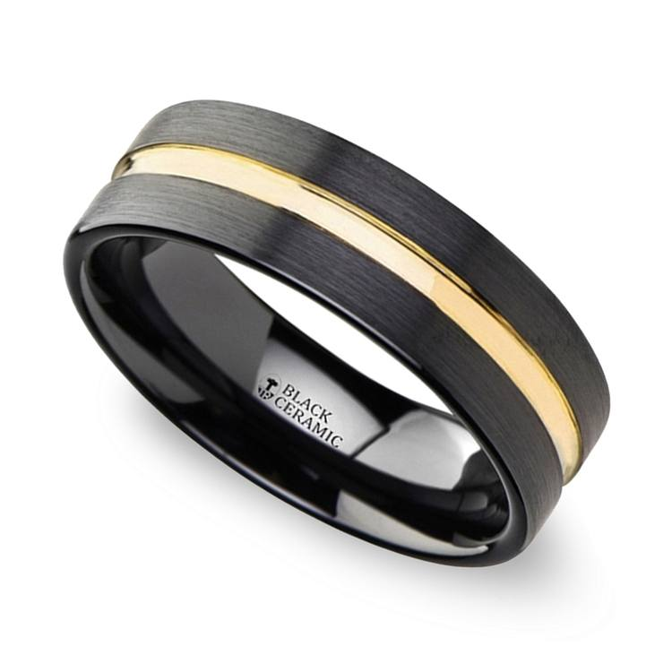 Black Ceramic Men's Wedding Ring with Yellow Groove (6mm) | 01