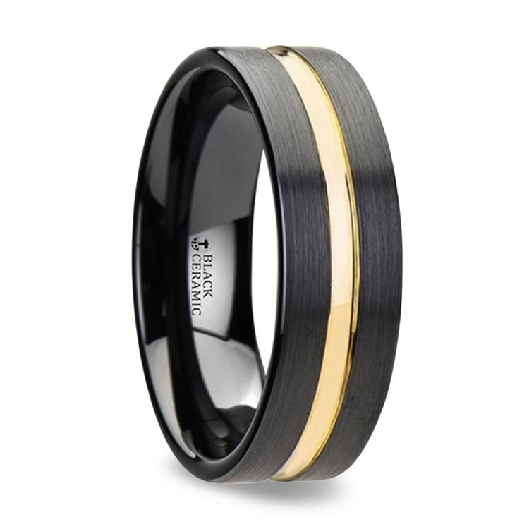 Black Ceramic Men's Wedding Ring with Yellow Groove (6mm) | 02