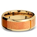 Rich Autumn - 14K Yellow Gold Mens Band with Osage Orange Inlay | Thumbnail 03