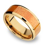 Rich Autumn - 14K Yellow Gold Mens Band with Osage Orange Inlay | Thumbnail 01