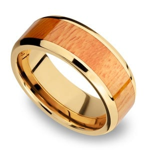 Rich Autumn - 14K Yellow Gold Mens Band with Osage Orange Inlay
