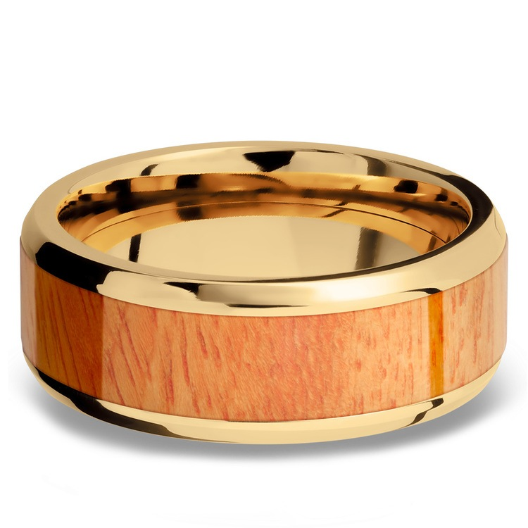 Rich Autumn - 14K Yellow Gold Mens Band with Osage Orange Inlay | 03