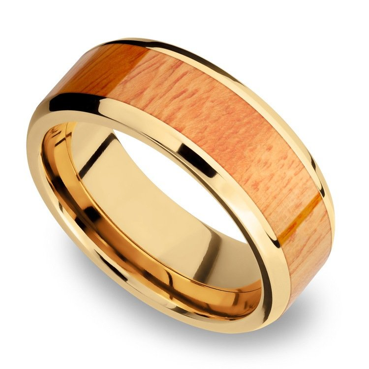 Rich Autumn - 14K Yellow Gold Mens Band with Osage Orange Inlay | 01