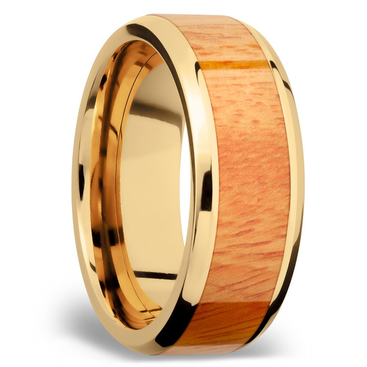 Rich Autumn - 14K Yellow Gold Mens Band with Osage Orange Inlay | 02