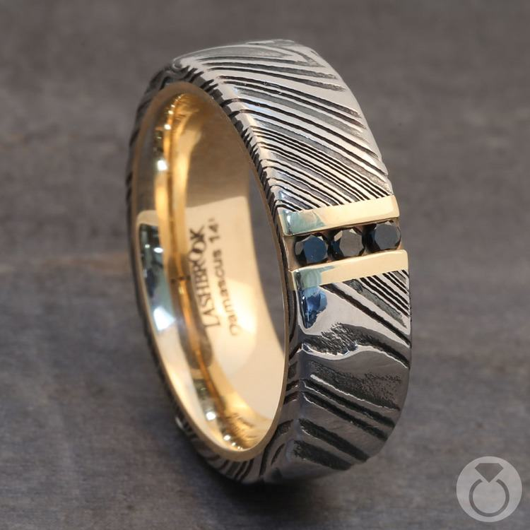Banana Split - Damascus Mens Band with Black Diamonds | 04