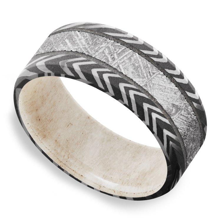 Capricorn - Zebra Damascus & Meteorite Mens Band with Antler Sleeve | 01
