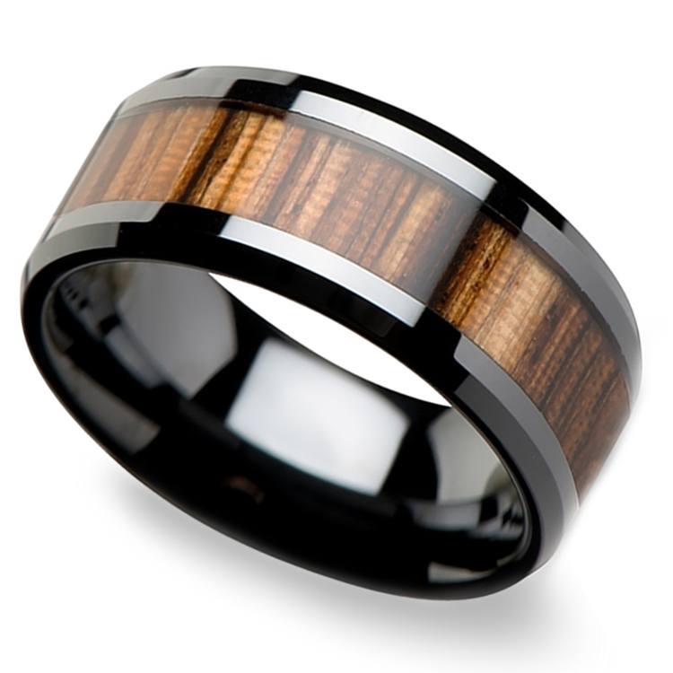 Zebra Wood Inlay Men's Beveled Ring in Black Ceramic (10mm) | 01