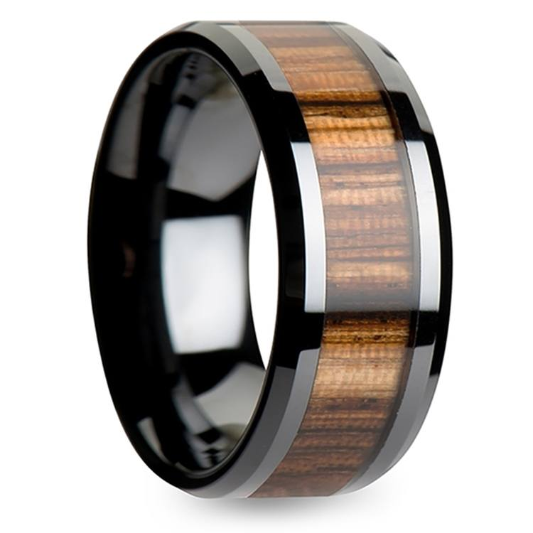 Zebra Wood Inlay Men's Beveled Ring in Black Ceramic (10mm) | 02
