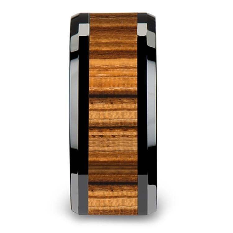 Zebra Wood Inlay Men's Beveled Ring in Black Ceramic (10mm) | 03