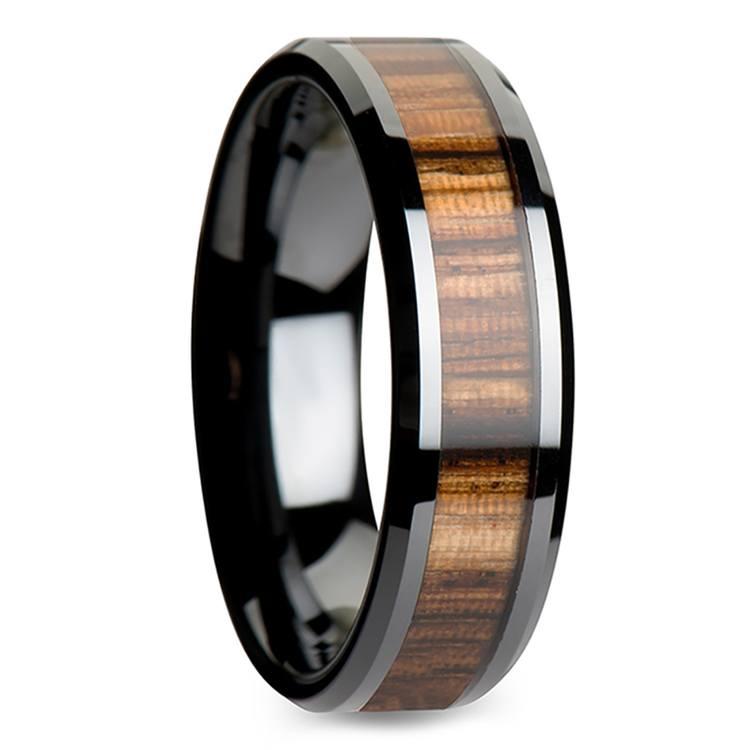 Zebra Wood Inlay Beveled Ring in Black Ceramic (4mm) | 02