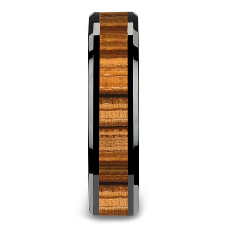 Zebra Wood Inlay Beveled Ring in Black Ceramic (4mm) | 03