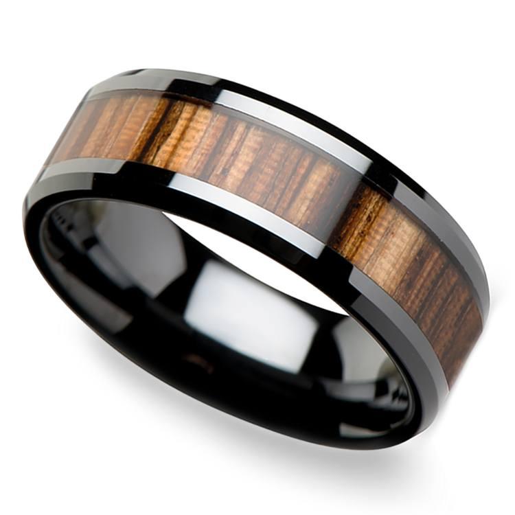 Zebra Wood Inlay Men's Beveled Ring in Black Ceramic (8mm) | 01
