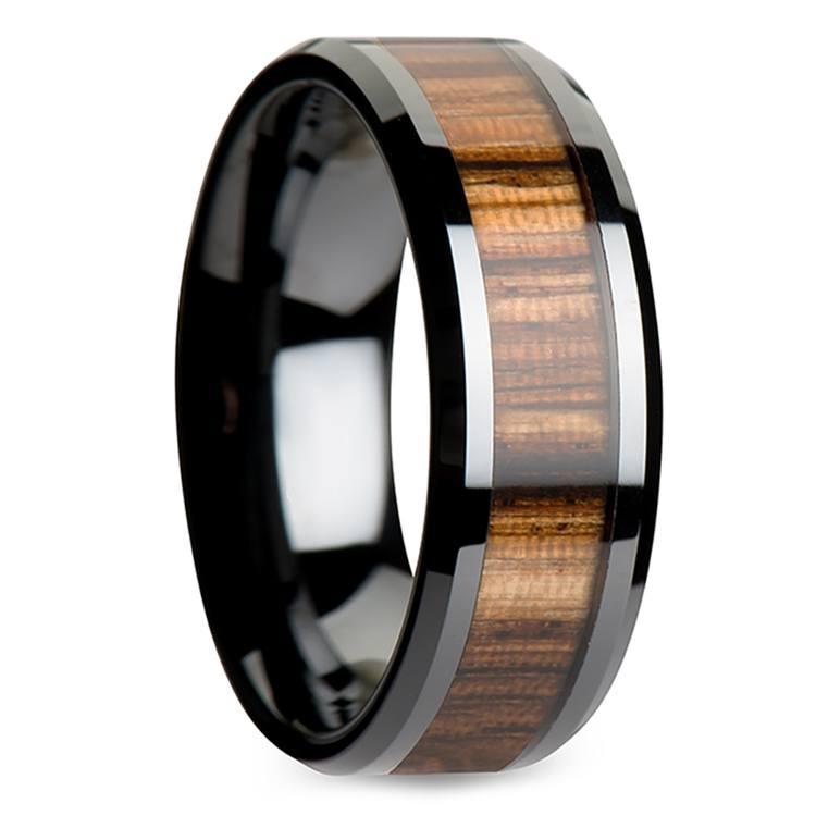 Zebra Wood Inlay Men's Beveled Ring in Black Ceramic (8mm) | 02