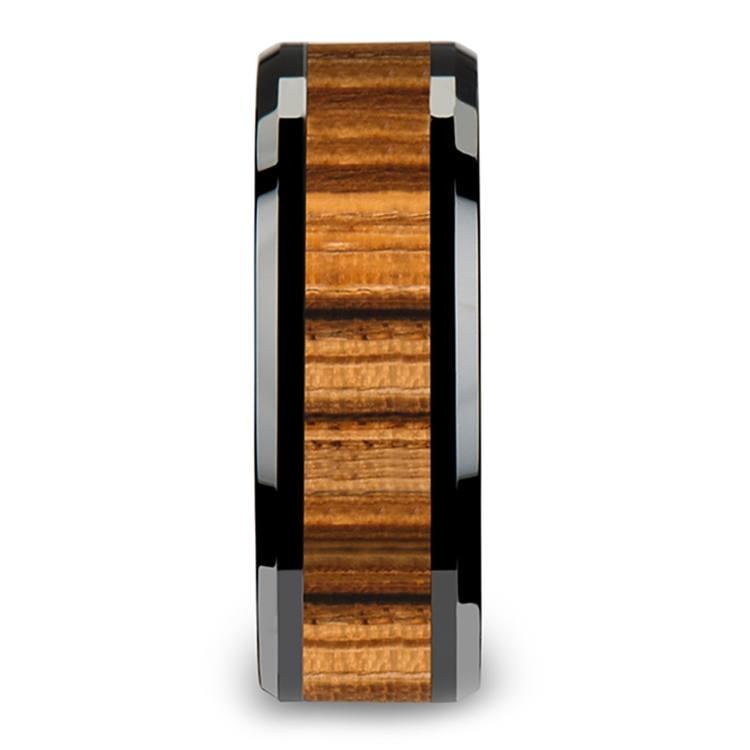 Zebra Wood Inlay Men's Beveled Ring in Black Ceramic (8mm) | 03