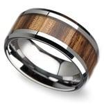 Safari - 10mm Beveled Tungsten Mens Band with Zebrawood Inlay | Thumbnail 01