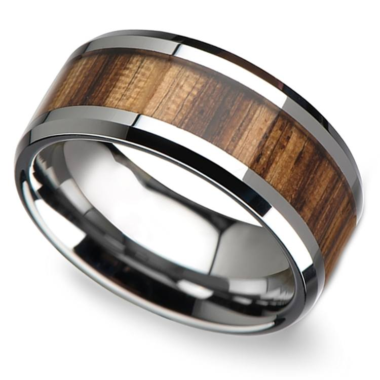 Safari - 10mm Beveled Tungsten Mens Band with Zebrawood Inlay | 01