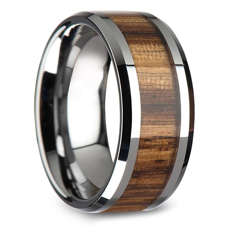 Safari - 10mm Beveled Tungsten Mens Band with Zebrawood Inlay | 02