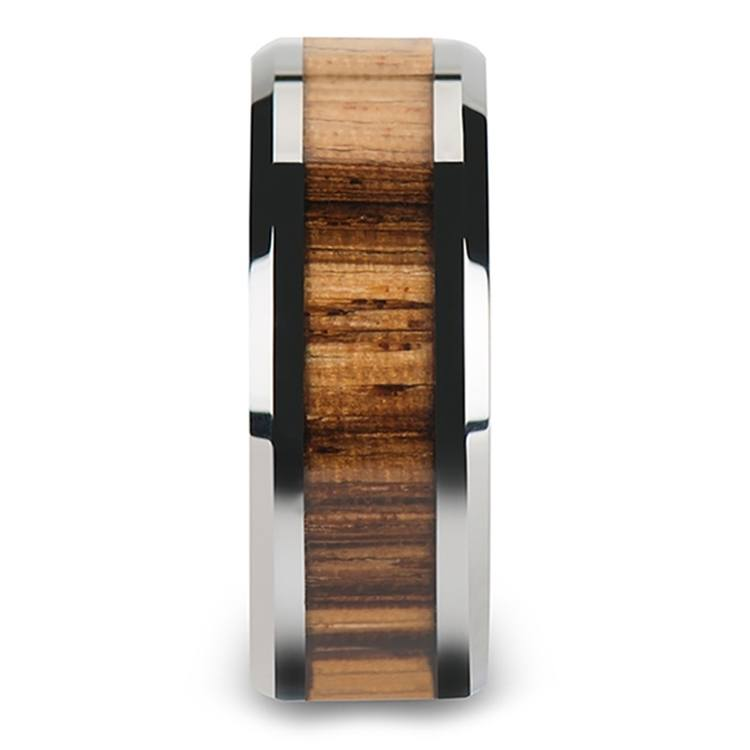 Safari - 10mm Beveled Tungsten Mens Band with Zebrawood Inlay | 03