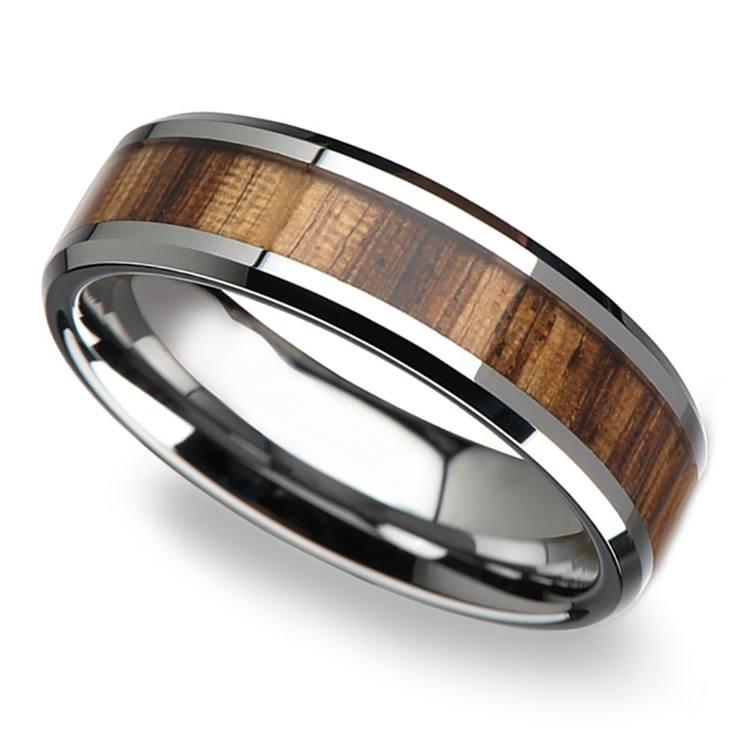 Zebra Wood Inlay Beveled Ring in Tungsten (4mm) | 01