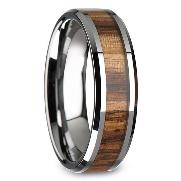 Zebra Wood Inlay Beveled Ring in Tungsten (4mm) | 02