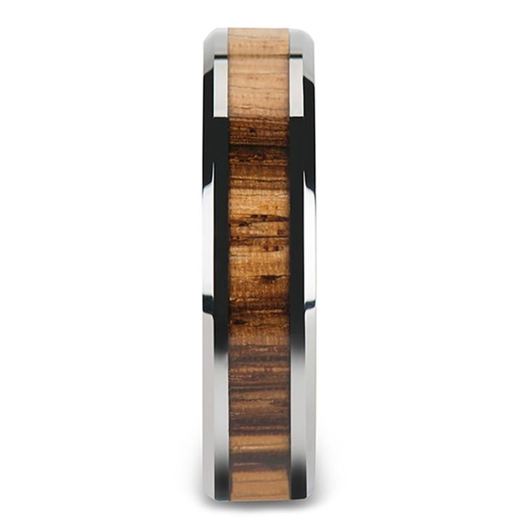 Zebra Wood Inlay Beveled Ring in Tungsten (4mm) | 03
