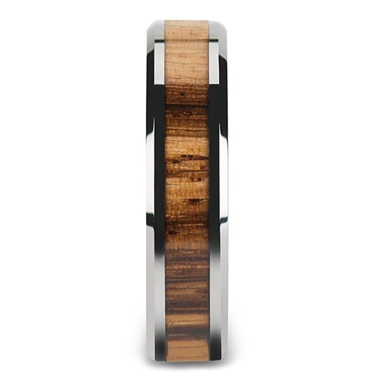 Zebra Wood Inlay Men's Beveled Ring in Tungsten (6mm) | 03