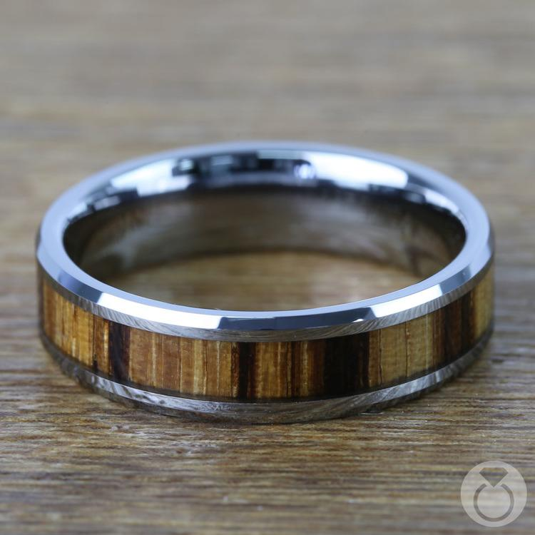 Zebra Wood Inlay Men's Beveled Ring in Tungsten (6mm) | 04