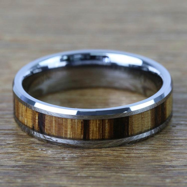 Zebra Wood Inlay Men's Beveled Ring in Tungsten (6mm)   04