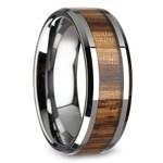 Zebra Wood Inlay Men's Beveled Ring in Tungsten (8mm) | Thumbnail 02