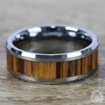 Zebra Wood Inlay Men's Beveled Ring in Tungsten (8mm) | Thumbnail 04