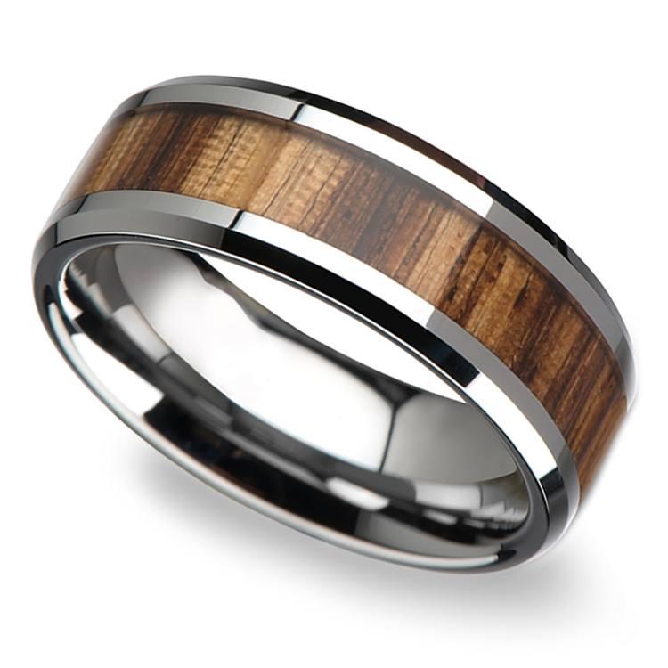 Zebra Wood Inlay Men's Beveled Ring in Tungsten (8mm) | 01