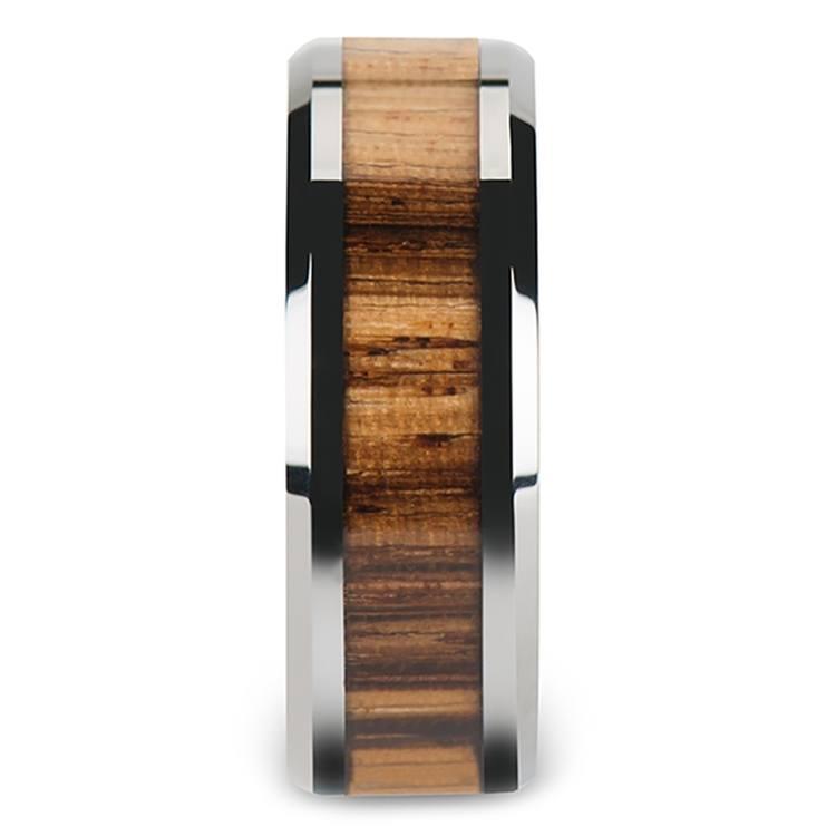 Zebra Wood Inlay Men's Beveled Ring in Tungsten (8mm) | 03