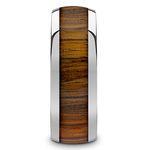 Earned Stripes - Tungsten Mens Band with Domed Zebra Wood Inlay | Thumbnail 03