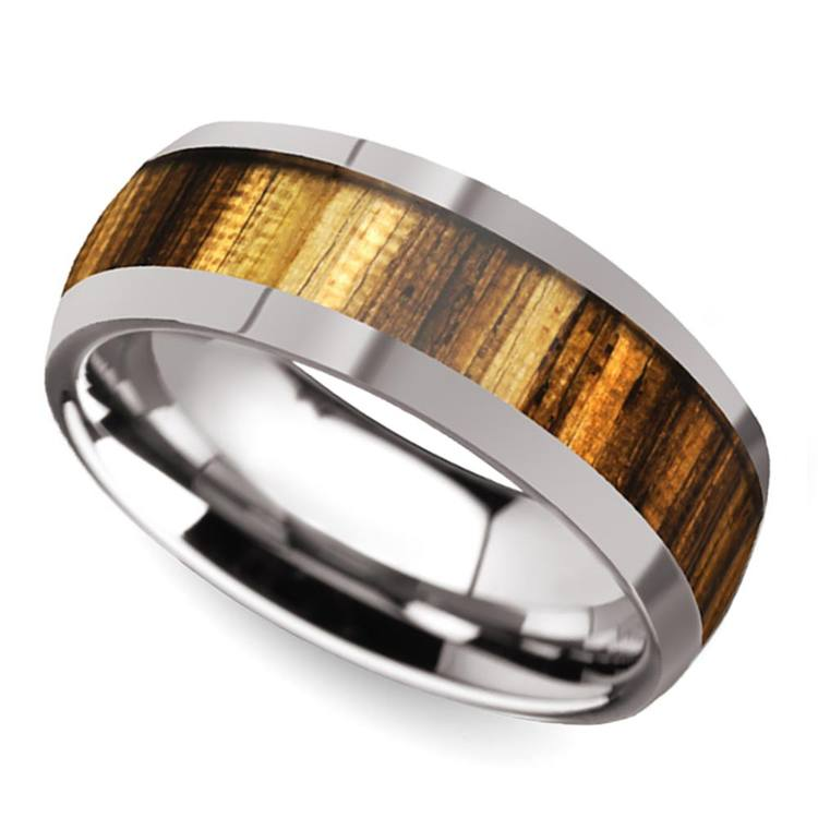 Earned Stripes - Tungsten Mens Band with Domed Zebra Wood Inlay | 01