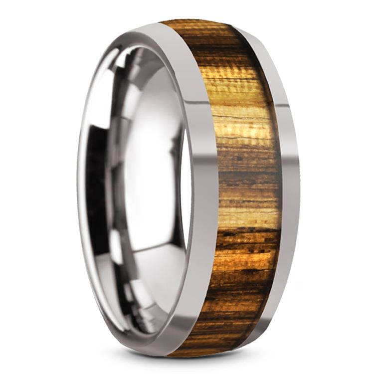 Earned Stripes - Tungsten Mens Band with Domed Zebra Wood Inlay | 02