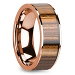 Zebra Wood Inlay Men's Flat Wedding Ring in Rose Gold | Thumbnail 02
