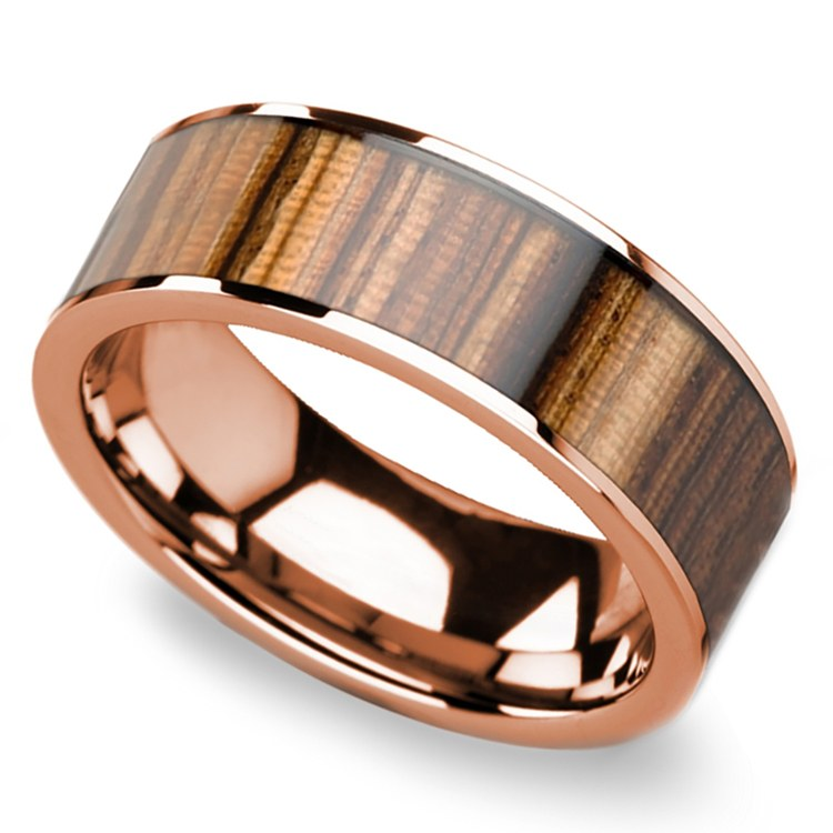 Zebra Wood Inlay Men's Flat Wedding Ring in Rose Gold | 01