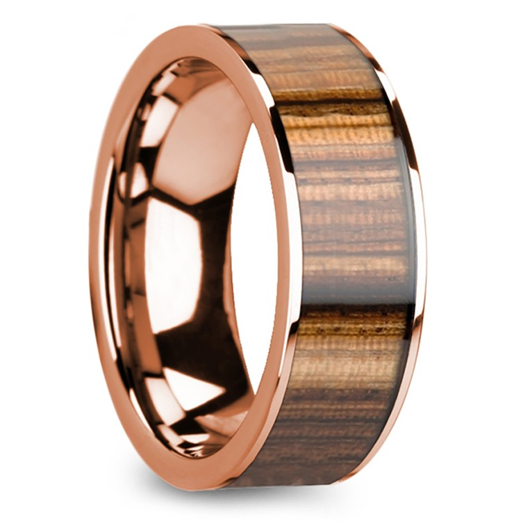 Zebra Wood Inlay Men's Flat Wedding Ring in Rose Gold | 02