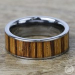 Zealous - Tungsten Mens Band with Zebra Wood Inlay | Thumbnail 04