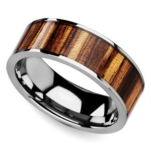 Zealous - Tungsten Mens Band with Zebra Wood Inlay