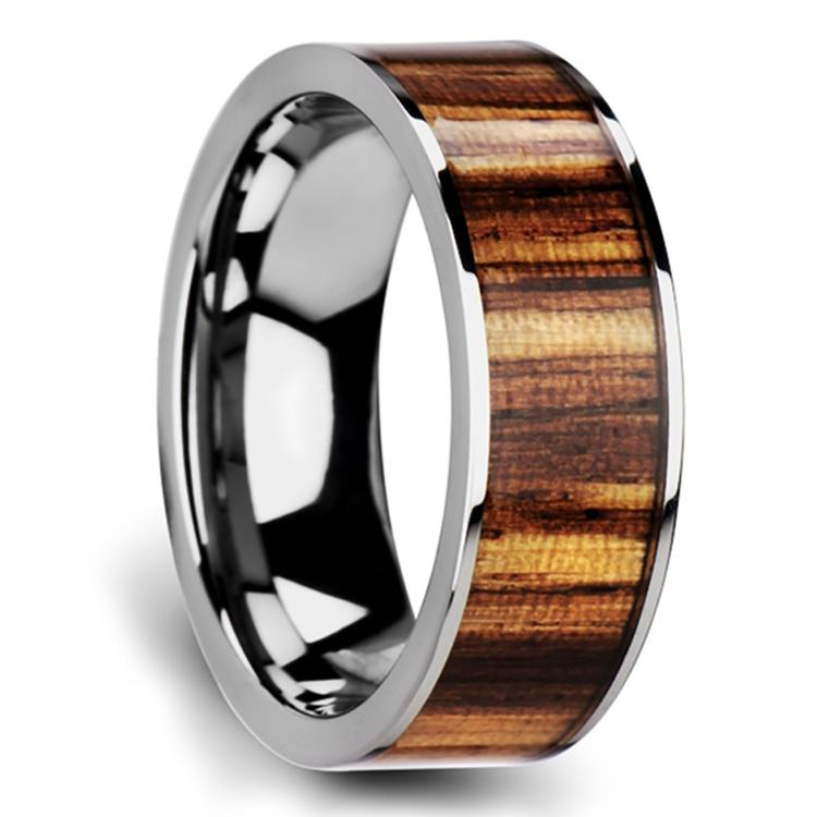 Zealous - Tungsten Mens Band with Zebra Wood Inlay | 02