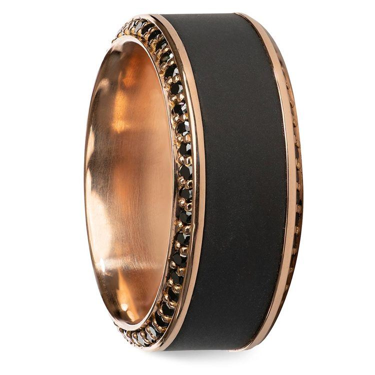 Zeus - Beveled Rose Gold Black Diamond Elysium Ring | 02