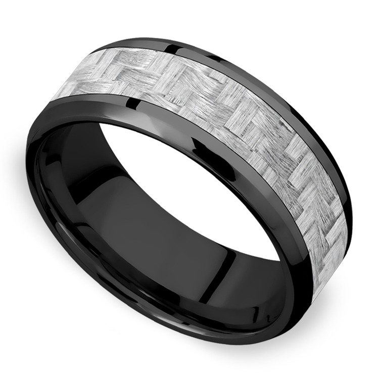 Carbon Angel - Zirconium & Carbon Fiber Mens Band | 01