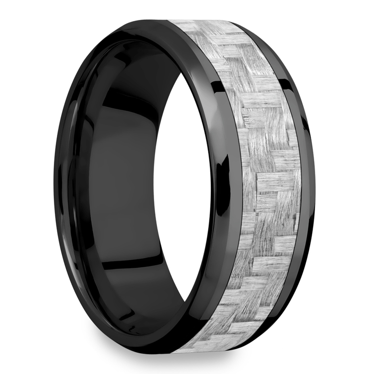 Carbon Angel - Zirconium & Carbon Fiber Mens Band | 02