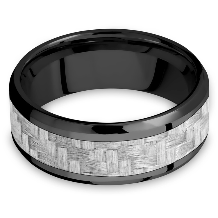 Carbon Angel - Zirconium & Carbon Fiber Mens Band | 03
