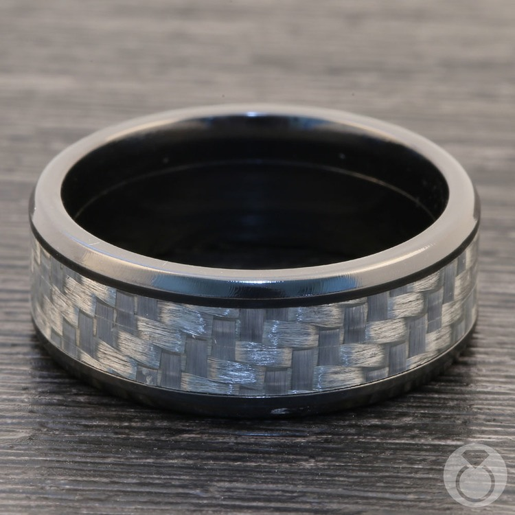 Carbon Angel - Zirconium & Carbon Fiber Mens Band | 04