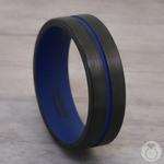 The Thin Blue Line - Zirconium & Blue Cerakote Mens Band | Thumbnail 04