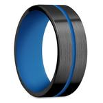 The Thin Blue Line - Zirconium & Blue Cerakote Mens Band | Thumbnail 02